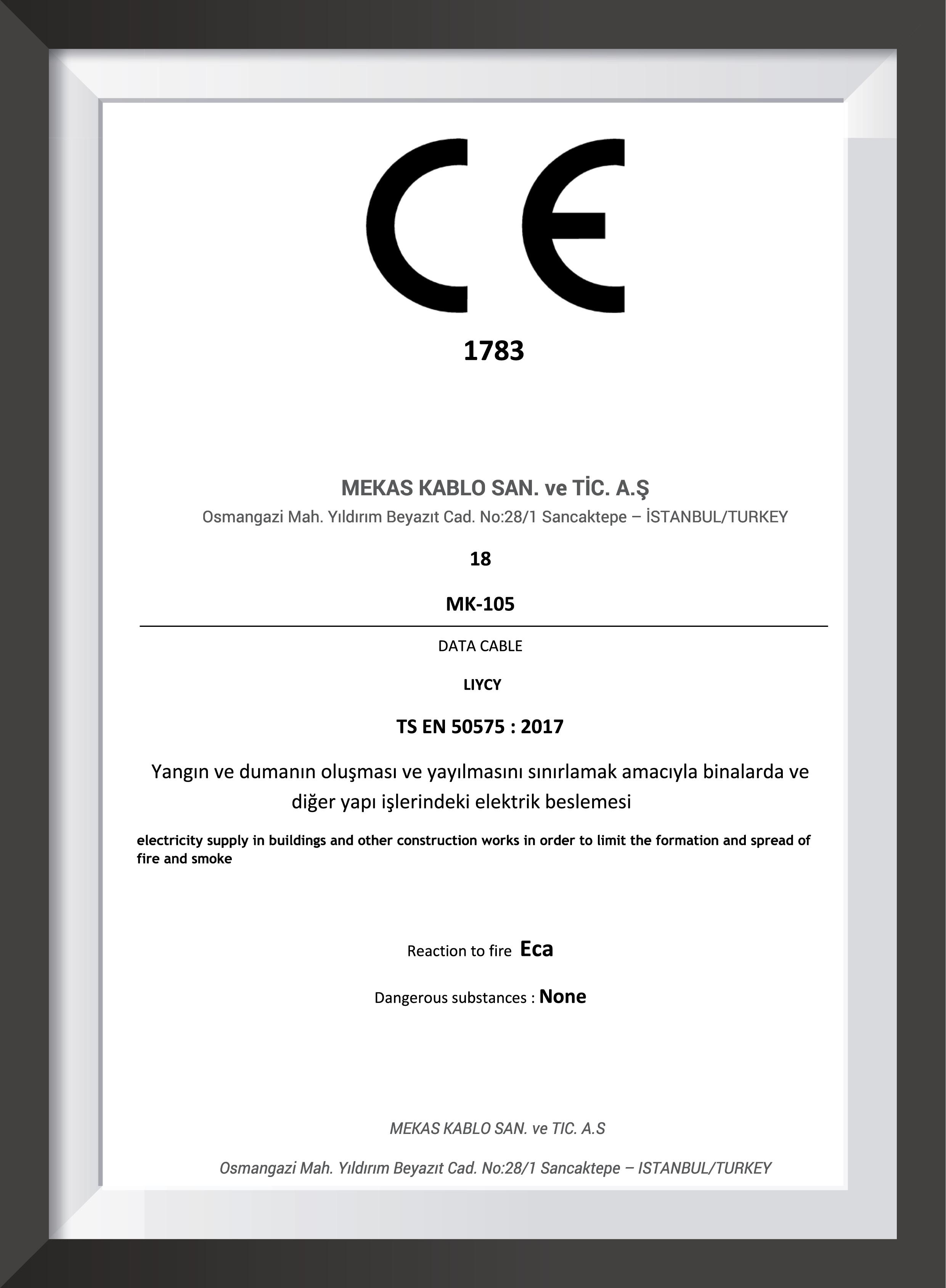 mekas kablo CE 1783