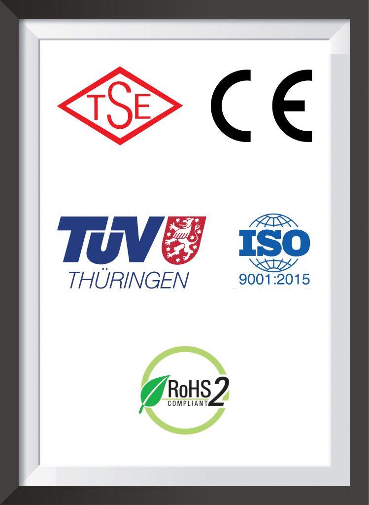 TSE CE TUV ISO ROHS belgeler